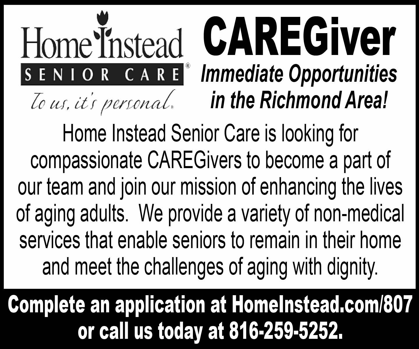 Care givers wanted
