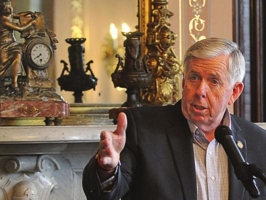 AT THE GOVERNOR'S MANSION in Jefferson City, Gov. Mike Parson answers questions about possible Medicaid expansion in Missouri. Despite studies to the contrary, Parson casts doubt on the idea that Medicaid expansion would save the state money. J.C. VENTIMIGLIA | Richmond News