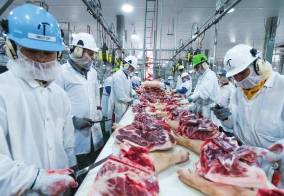 PRESTON KERES | U.S. Department of Agriculture MEAT PROCESSING resumes at the plant shortly after employee tests positive for COVID-19.