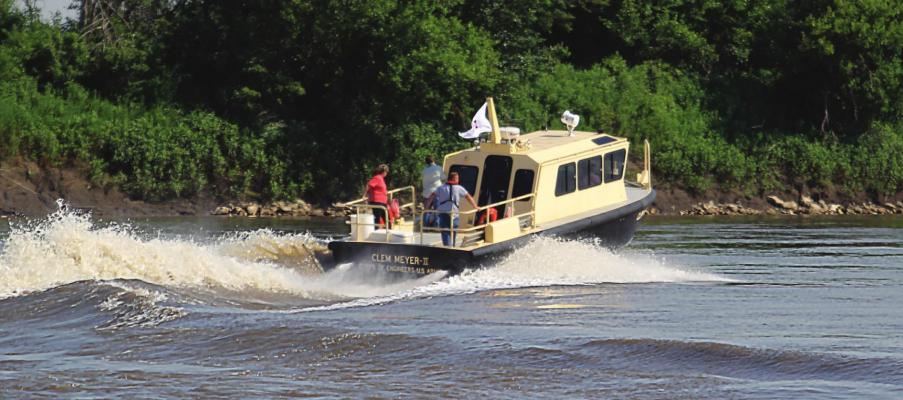 THE CLEM MILLER II takes off from Lexington to tour river repair work. J.C. VENTIMIGLIA | Staff