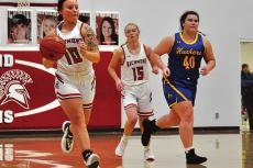 SSKYLAR QUICK pushes the ball for Richmond Tuesday in her last game on her home basketball court. HAWN RONEY | Richmond News